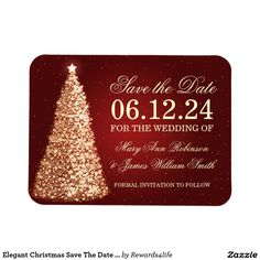 Elegant Christmas Save The Date Gold Red