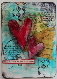 Mixed Media altered playing card - Another! Art Journal Pages, Journal Cards, Art Journals, Mixed Media Cards, Mixed Media Collage, Mix Media, Altered Books, Altered Art, Altered Tins
