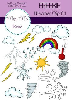FREE Weather Clip Art Freebie from Mrs. M's Room on TeachersNotebook.com -  (1 page)  - 18 free weather clip art images