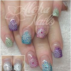 Colour Change Glitter with Stamping ~ by aloha-nails - Nagelmodellagen Spezielle… Wow Nails, Cute Nails, Pretty Nails, Nail Polish Designs, Cool Nail Designs, Fabulous Nails, Gorgeous Nails, Aloha Nails, French Tip Nails