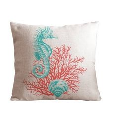 "Cotton and Flax Ocean Park Theme Decorative Pillow Cover Case 18"" x 18"" Square Shape-ocean-beach-print- (Coral Leaf)"