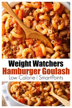 WW Easy Hamburger Goulash w/ SmartPoints - Easy Healthy Classic American Hamburger Goulash for Weight Watchers with SmartPoints - Weight Watcher Dinners, Plats Weight Watchers, Weight Watchers Pasta, Healthy Low Calorie Meals, No Calorie Foods, Low Calorie Recipes, Healthy Snacks, Low Calorie Comfort Food Dinners, Healthy Recipes With Hamburger