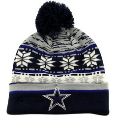 049b8aaf05b New Era Dallas Cowboys Blizz Knit Hat with Pompom - Navy Blue Gray