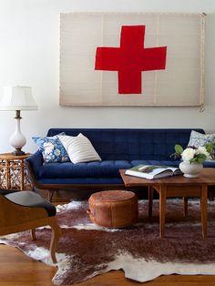Emily Henderson {blue and white vintage modern living room}