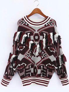 Multicolor Graphic Print Striped Trim Tassel Sweater 30.56