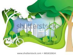 Nature landscape and eco friendly concept.Paper carve of environment conservation conceptual design paper art style. Garden Park, Conceptual Design, Grafik Design, Natural, Paper Art, Illustration, Eco Friendly, Royalty Free Stock Photos, Carving