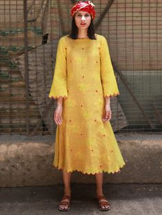 Yellow Chanderi Cotton A Line Dress with LIning - Set of 2