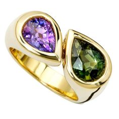 Deux Poires Green and Purple Sapphire Gold Ring