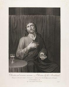 Jan Willem Caspari   Christus bij het Laatste Avondmaal, Jan Willem Caspari, J. van Ledden Hulsebosch, 1808 - 1822   Christus zit op een bankje. In zijn linkerhand houdt hij een stuk brood. Zijn rechterhand rust op zijn borst. Volgens het Nieuwe Testament brak Christus het brood tijdens het Laatste Avondmaal met de woorden: 'Neem, eet, dit is mijn lichaam' (Mattëus 26:26). Naast hem staat een tafeltje met een wijnkelk.