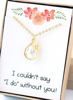 Crystal Clear Bridesmaid Necklace Initial Charm Personalized Jewelry Personalized Necklace Bridal Gift Wedding Party Gift Limonbijoux Your friends will love this adorable Crystal Clear Bridesmaid Necklace Initial Charm Personalized Jewelry Personalized Necklace Bridal Gift Wedding Party Gift by Limonbijoux. The 18mm faceted glass charm is held by a 16k gold plate bezel and accented with a personalized initial leaf charm. All hangs so nicely on an 18 inch 16k gold plate chain. The most…