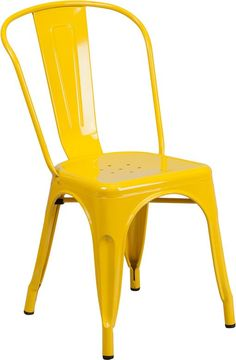 Tolix Style Chair Yellow Metal