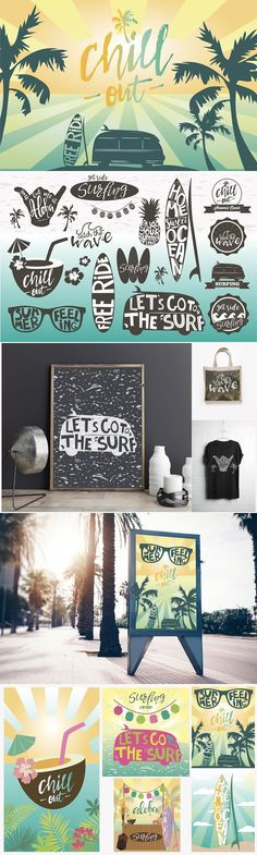 14 surfing logos templates 5 posters. Best Objects