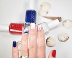 Anchors aweigh with this nautical nail art for summer.