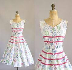 Vintage 50s Dress/ 1950s Cotton Dress/ by WhenDecadesCollide, $98.00