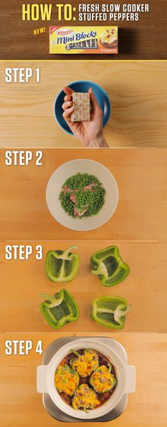 How to make VELVEETA Fresh Slow Cooker Stuffed Peppers – Just take one of VELVEETA's new 4oz. Mini Blocks and you're a few easy steps away from stuffed peppers bursting with flavor. For more Mini Block recipes visit http://www.kraftrecipes.com/velveeta/main.aspx