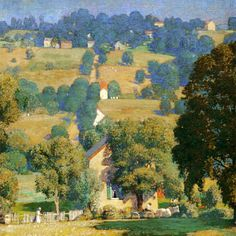 Road to Solebury 1919 - Daniel Garber - Daniel Garber was an American Impressionist landscape painter and member of the art colony at New Hope, Pennsylvania. Impressionist Landscape, Impressionist Artists, Landscape Art, Landscape Paintings, Pierre Auguste Renoir, Imagen Natural, American Impressionism, Digital Museum, American Artists