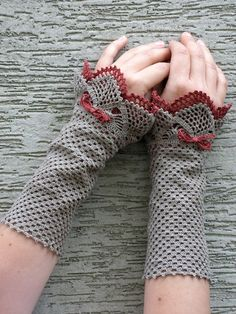 Autumnal Story - crocheted open work lacy wrist warmers