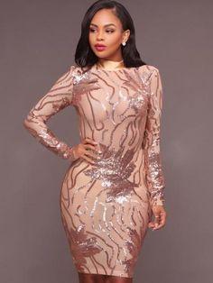 56de194f0e8 Open Back Sequins See-Through Women s Bodycon Dress