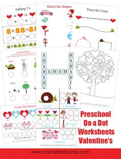 Crystal and Comp has FREE Valentine's Dot-a-dot worksheets for preschoolers. This packet includesmath, matching, tracing lines and patterns.
