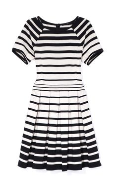 Variegated Stripe Knit Pleated Dress from TIBI - $385