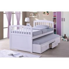 Best Quality Furniture Wood Captian Bed With Trundle & Storage Drawers white or Cappuccino #kidsbedroomfurniture Trundle Bed With Storage, Twin Trundle Bed, Bed Storage, Storage Drawers, Daybed, Toddler Furniture, Kids Bedroom Furniture, Bedroom Ideas, Twin Captains Bed