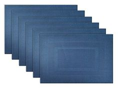 "DII Everday, Easy to Clean Indoor/Outdoor Woven Vinyl 13x18"" Double Border Placemats, Nautical Blue, Set of 6, http://www.amazon.com/dp/B00O1QT0IC/ref=cm_sw_r_pi_awdm_SaN9vb0TRTP3D"