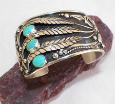 EXQUISITE~NAVAJO~EMER THOMPSON~STERLING SILVER~ROYSTON TURQUOISE~BRACELET in Jewelry & Watches, Ethnic, Regional & Tribal, Native American | eBay