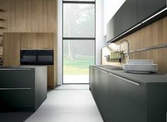 Pronorm Matt Stratus Grey and Elm veneer kitchen from Moneyhill Interiors