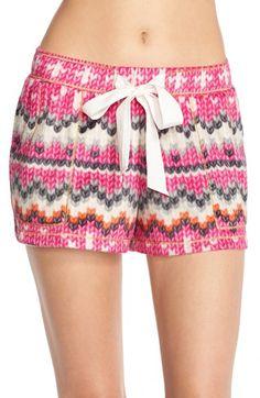 kenise 'Curled Up' Print Fleece Shorts