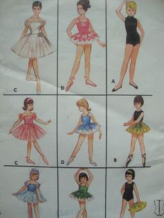 vintage 1960s butterick girls BALLET dance costumes sewing pattern SIZE 6 tutu leotard skirt CROWN retro classical ballet