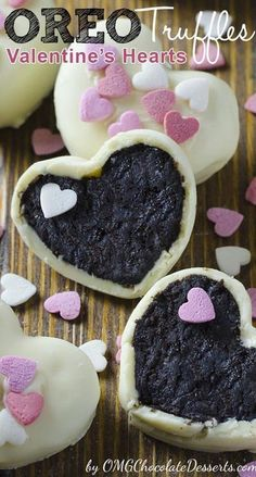 40 Easy Valentines Day Cookies: Adorable Sweets - The Daily Spice - Easy Valentines Day Cookies: Oreo Truffles Valentine's Hearts - Valentines Day Cookies, Valentines Day Chocolates, Valentines Recipes, Valentine Hearts, Easter Recipes, Valentine Sday, Valentine Desserts, Kids Valentines, Homemade Valentines