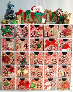 I make these Advent Calendars for family and friends for Christmas. I purchase the box from Karen Foster's web site, add scrapbook paper, paint, embellishments purchased from Michaels Arts and Craft Store in Virginia Beach, VA. So much fun to make and everyone loves them!