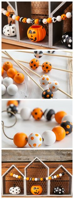 Cutest DIY Halloween Wood Bead Garland In just about an hour you can make an adorable Halloween Wood Bead Garland. It will be perfect to add to your Halloween decorations! Bijou Halloween, Dulceros Halloween, Halloween Wood Crafts, Halloween Party Games, Diy Halloween Decorations, Holidays Halloween, Fall Crafts, Diy Crafts For Kids, Holiday Crafts