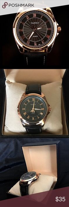 """Luxury Leather Quartz Watch Black or Brown Brand new comes in box.    Features classic roman numeral design with distinctive hand dials.    Fits wrist sizes: 6.75 - 8.00""""    49mm Case diameter  Band length (including case): 9.06""""  Movement: Quartz battery (included)  Material: Leather  Battery: New, included Accessories Watches"""
