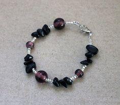 Black Onyx bracelet Purple and Silver Glass by PebbleCreekBoutique, $14.00