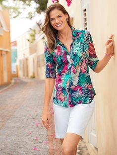 Shop Talbots for modern classic women's styles. You'll be a standout in our The Classic Casual Shirt - Jungle Botanical - only at Talbots! Over 60 Fashion, Classic Style Women, Summer Outfits, Summer Shorts, Summer Tops, Talbots, Casual Wear, Casual Shirts, Spring Fashion