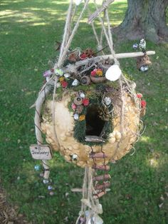 Gourd Fairy House with furniture inside!~ Visit my website to see more pics and my other fairy houses. I'd love to hear from you! #fairyhouses