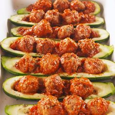 Meatball Zucchini Boats are the low-carb, high-protein way to eat a meatball sub. #healthyrecipes #easyrecipes #meatballs #zuccchiniboats #delish