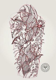 Koi Tattoo Sleeve, Koi Fish Tattoo, Back Tattoo, Graffiti Tattoo, Tattoo Sketches, Tattoo Drawings, Carpe Coi, Japan Tattoo Design, Hanya Tattoo