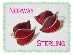 Hans Myhre ~ Norway Sterling Silver ~ Scandinavian Guilloche Red Enamel RARE Double Leaf Earrings ~ Vintage Vermont Estate Treasure  @@ FREE SHIPPING IN USA @@