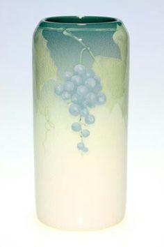 ~Rookwood~Artist: Katherine Van Horne~Circa 1908~Grape Vines With Pendant Bunches Of Purple Grapes-Iris Glazed Cylinder Vase~