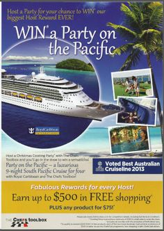 If there has ever been an extra reason to book your Christmas masterclass.This is it, Hold a cooking party with $500 in sales and get 1 ticket in our all exp paid cruise for 4 people, 9 days on the south pacific. Call 0418334909 to book ASAP - offer ends 8 Dec 2013