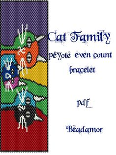Peyote Pattern for bracelet Cat Family INSTANT by Beadamor on Etsy