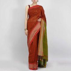 noil silk multicolored saree