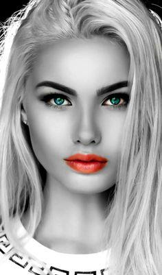 Beautiful faces with expressive eyes Beautiful Models, Beautiful Eyes, Simply Beautiful, Beautiful Women, Splash Photography, Beauty Photography, Color Splash, Color Pop, Foto Art