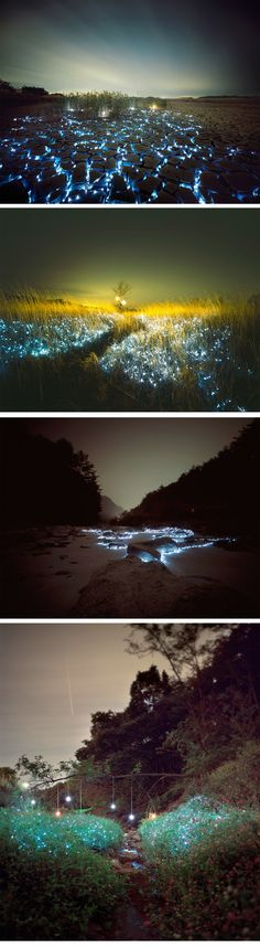 NIGHT BY LEE EUNYEOL. some good ideas actually for lighting up your garden (even though this is meant to be a piece of art) What A Wonderful World, Beautiful World, Beautiful Places, Cool Pictures, Beautiful Pictures, Environmental Art, Light Art, Public Art, Sculpture