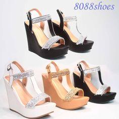 Sexy Bridal Rhinestone T- Strap Buckle  Wedge Platform Sandal Shoes Size 6 - 10 #naturebreeze #PlatformsWedges