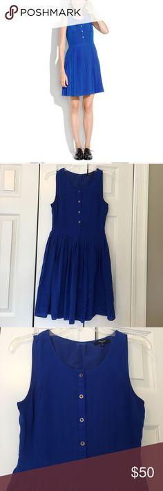 Madewell blue silk pleated shirt dress A defined waist and a beautiful silk dress! EUC. 100% silk. 34 inches long. Madewell Dresses