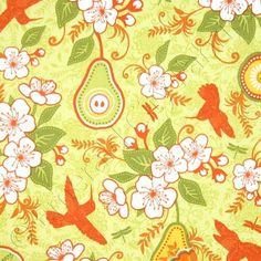 Amazon.com: Riley Blake Decadence Birds & Pears Green Fabric Yardage: Arts, Crafts & Sewing