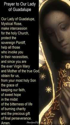 Our Morning Offering – 12 December – The Feast of Our Lady of Guadalupe Prayer to Our Lady of Guadalupe Our Lady of Guadalupe, Mystical Rose, make intercession for the holy Church,. Prayer Verses, Faith Prayer, Prayer Quotes, My Prayer, Prayer Cards, Spiritual Quotes, Catholic Religion, Catholic Quotes, Catholic Prayers